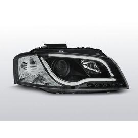 Přední světlaAUDI A3 8P 05.03-03.08 LED TUBE LIGHTS BLACK homologace DRL R87