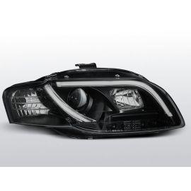 Přední světlaAUDI A4 B7 11.04-03.08 TUBE LIGHTS BLACK homologace DRL R87