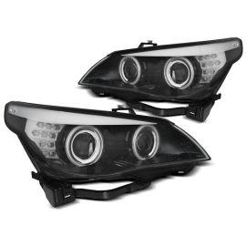 Přední světla BMW E60/E61 03-07 ANGEL EYES CCFL BLACK LED INDIC